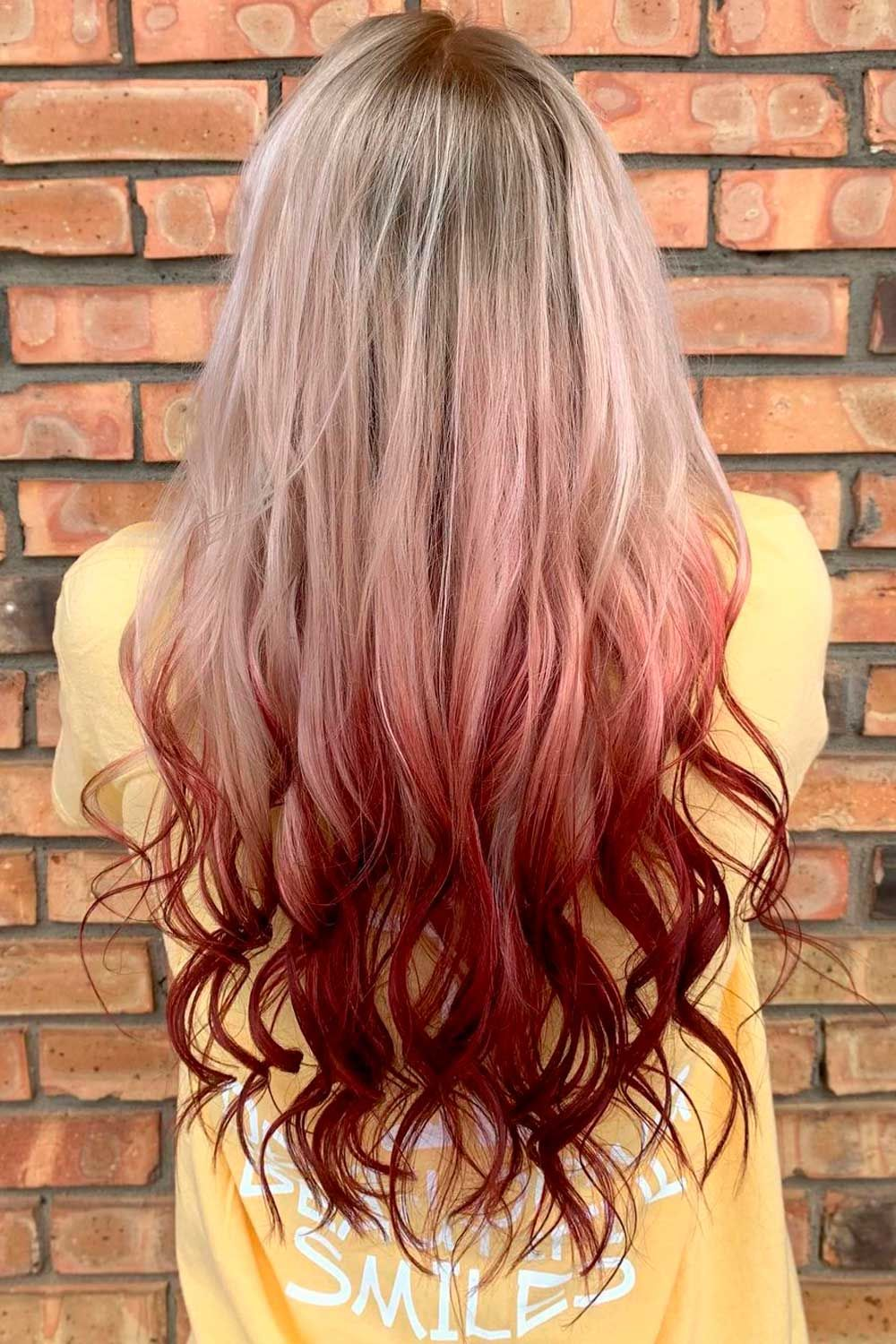 Reverse Red Ombre Hair With Blonde Top, Ombre Hairstyles for Long Hair, reverse red ombre hair, reverse fire ombre hair