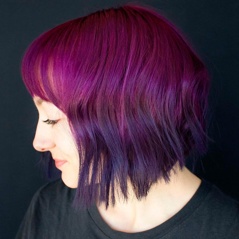 Reverse Dark Purple Ombre, Ombre Short Hair, reverse purple ombre, ombre reverse