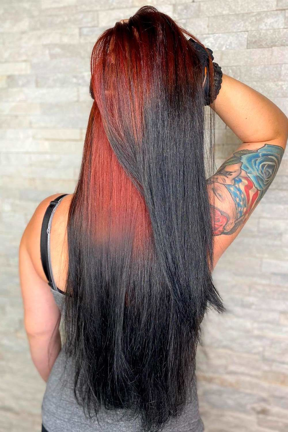 Extra Bright Ideas With Black And Colorful Ombre Reverse Hair, Ombre Hairstyles for Long Hair, Black ombre hair, reverse red ombre hair