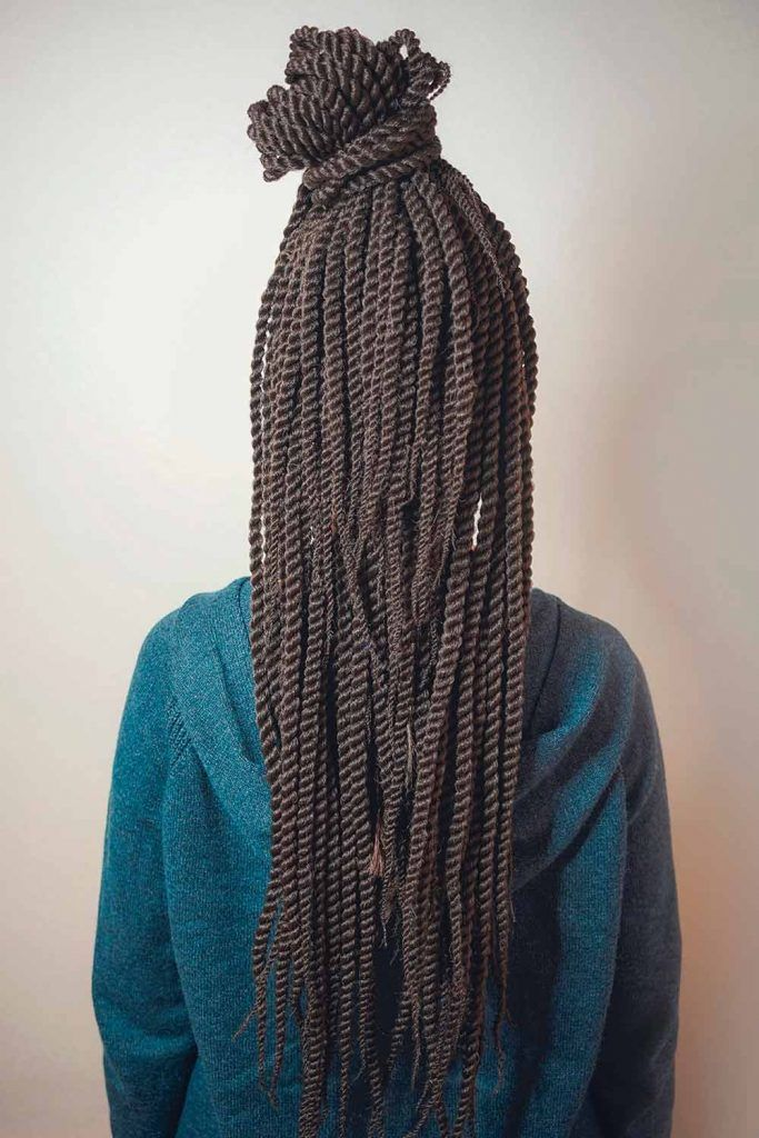 Braided Half-Up With Twisted High Bun, single twhairstyle for senegalese braids,, sts hairstyle, senegalese hairstyle