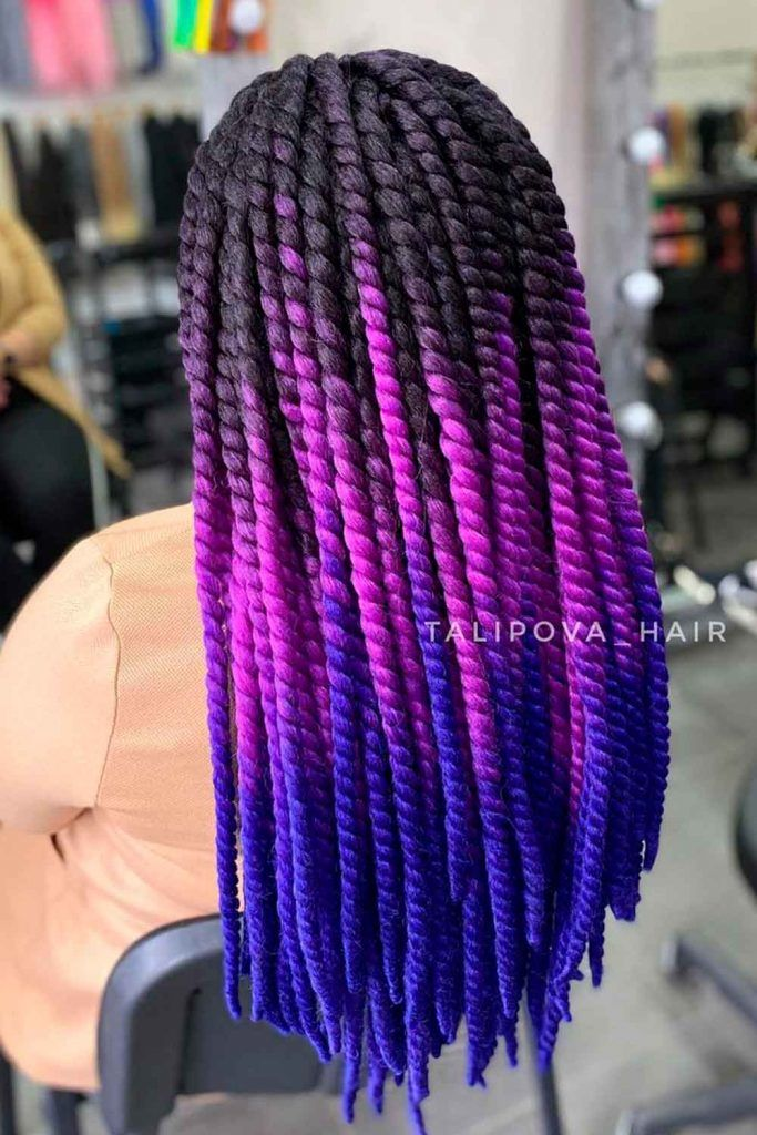 Senegalese Twist With Colorful Kanekalon Hair, senegalese twist hair, twist with kanekalon hair, senegal twist hairstyle
