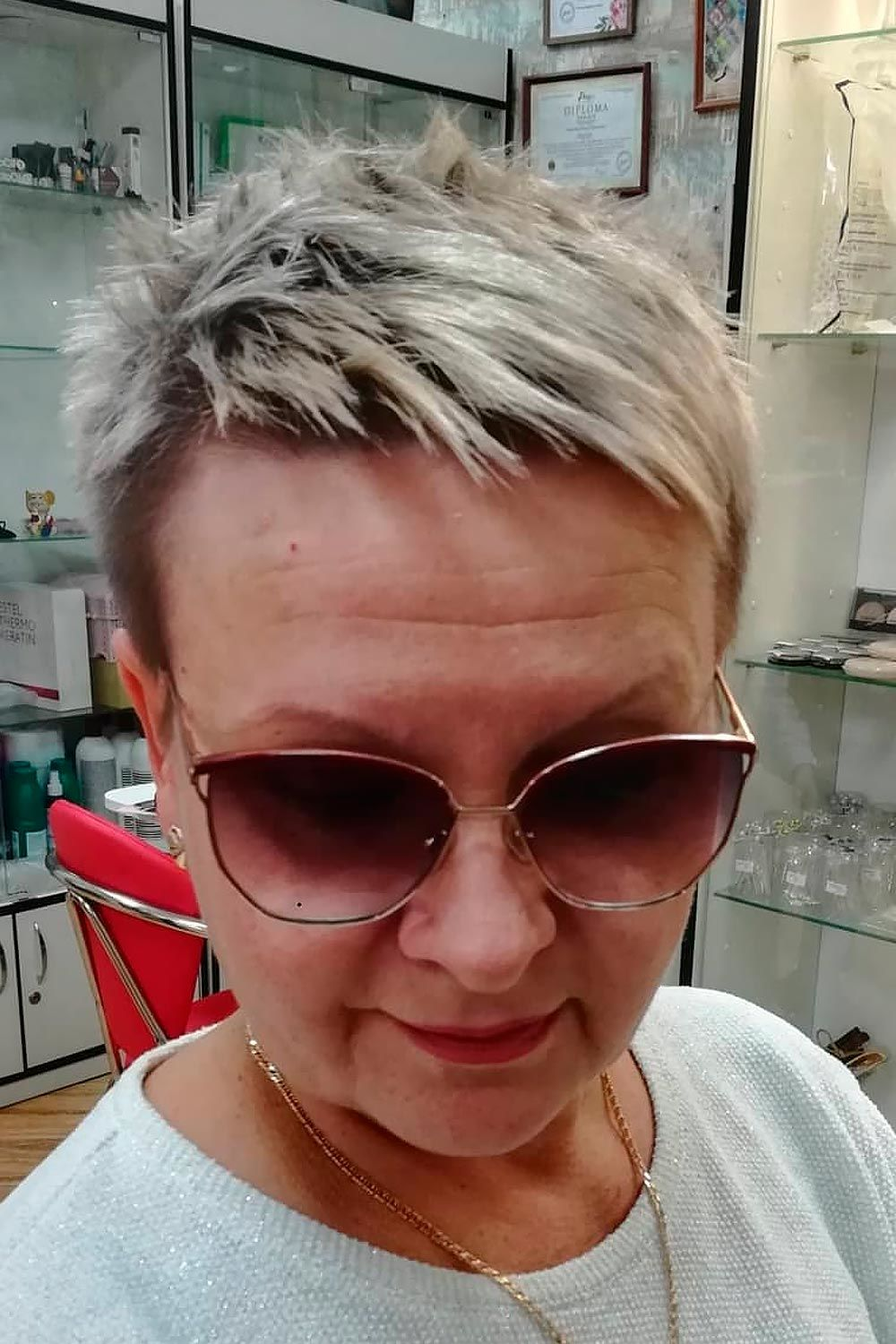 Dark Rooted Pixie, short layered haircuts for older women, short shag haircuts for older women, short hair for older women