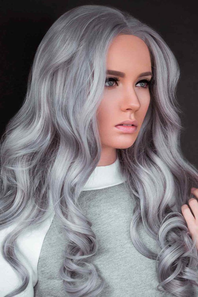 All-Over Color, silver platinum hair, silver curly hair, silver grey hair colour, silver gray hair color