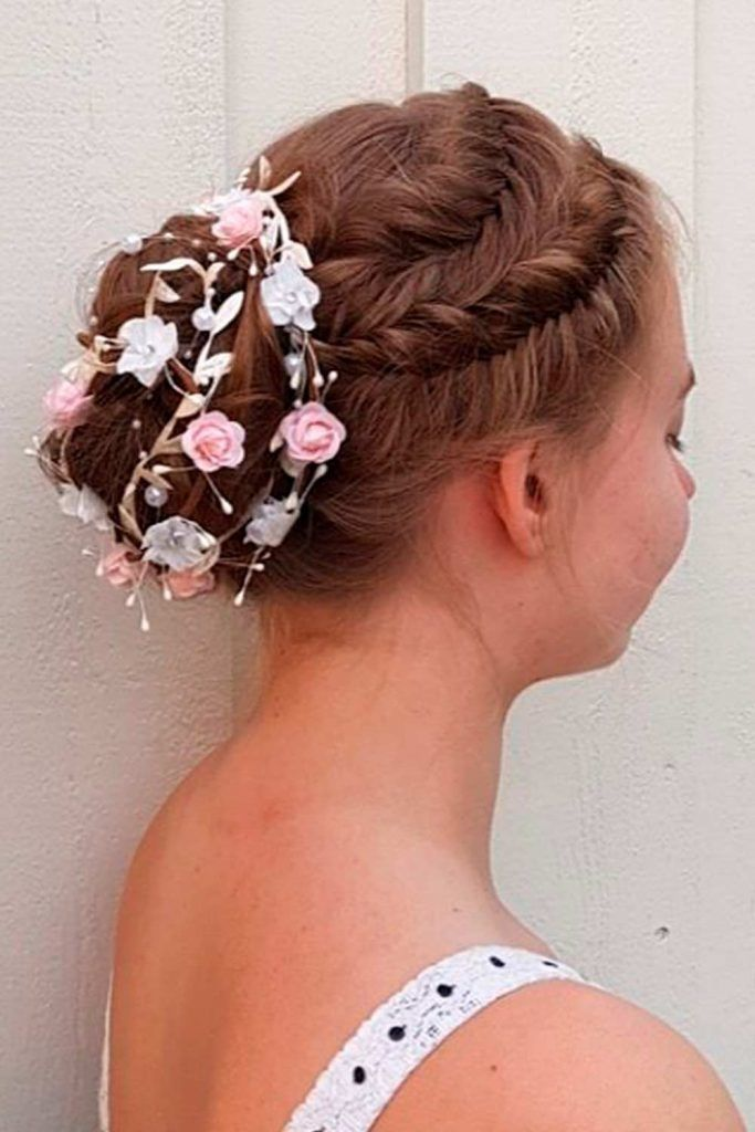 A Fishtail French Braid With Bright Flowers, wedding updos for long thick hair, wedding hairstyle updos for long hair, updos wedding, hair updos for wedding