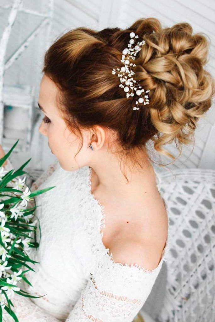 A Messy Twisted Updo With Accessories, wedding updos for long curly hair, wedding bun updos, wedding hair style updos,  updos for curly hair wedding