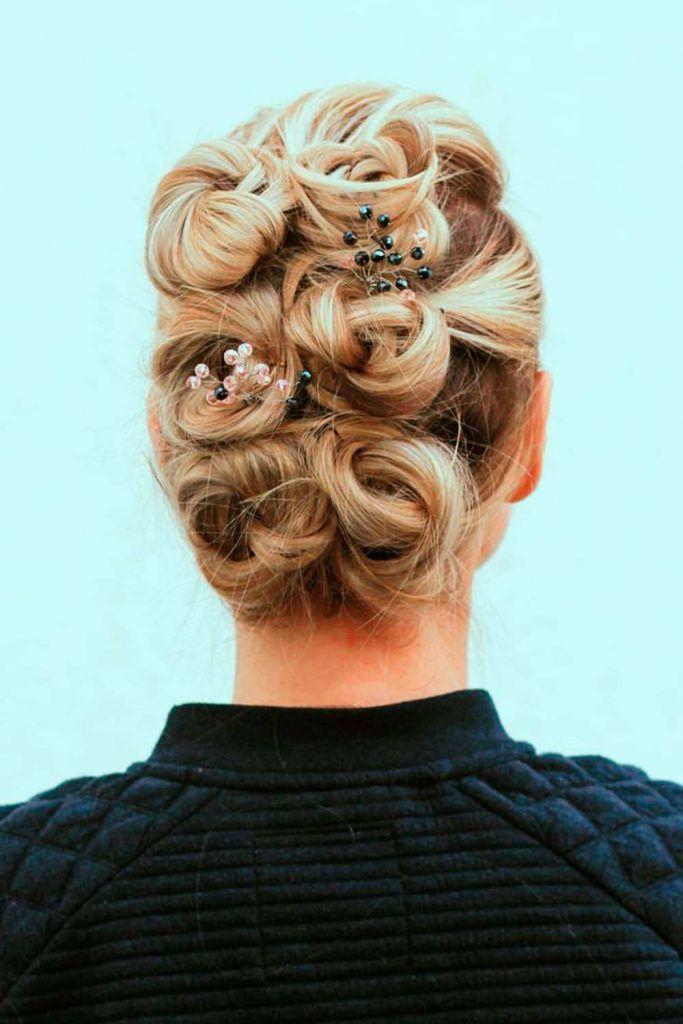 A Combo Of Several Little Buns, wedding hair style updos, updos for wedding, wedding bun updos