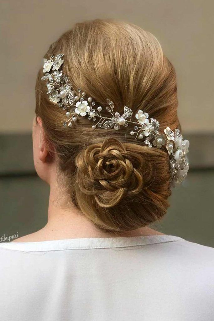 A Vintage Floral Wedding Updo For Long Hair, wedding updos for long thick hair, wedding updos hairstyles for long hair, elegant updos for wedding