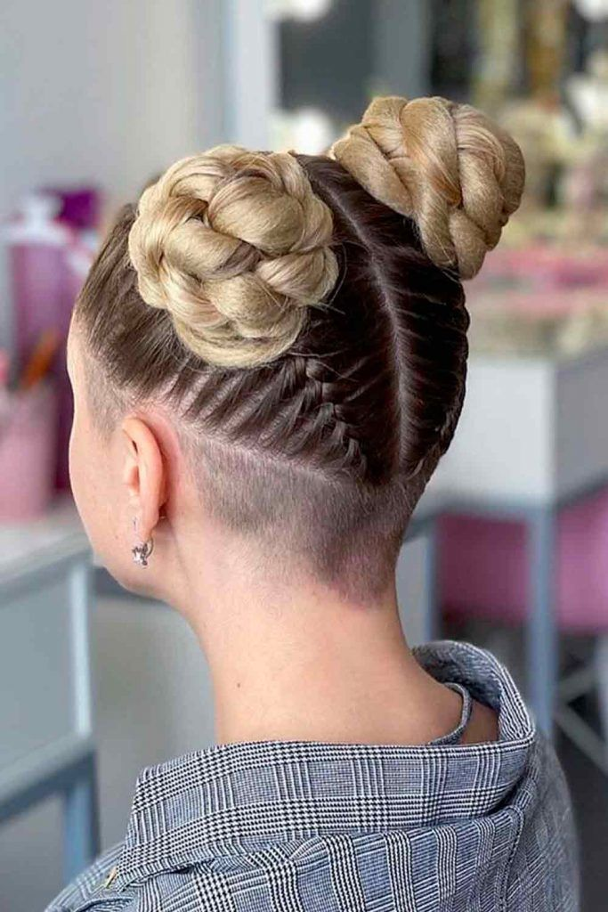 Faded And Braided Hairstyle, skin fade undercut, fade undercut girl, undercut female long hair