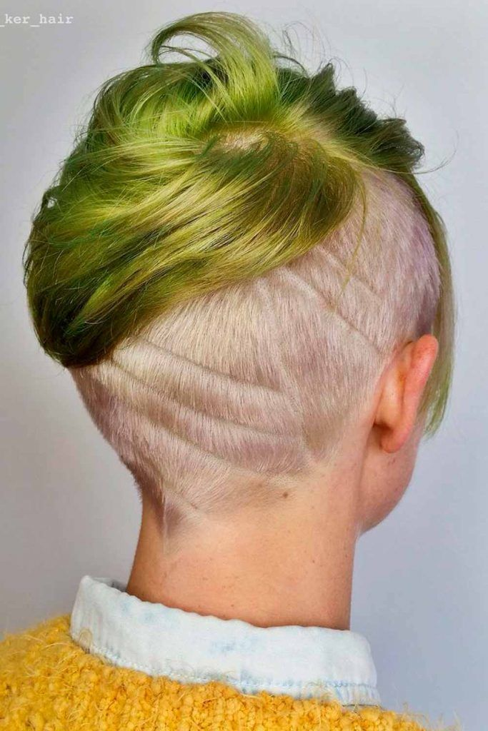 Faded Undercut With Shaved Stripe, fade undercut girls, undercut fade women's, skin fade undercut