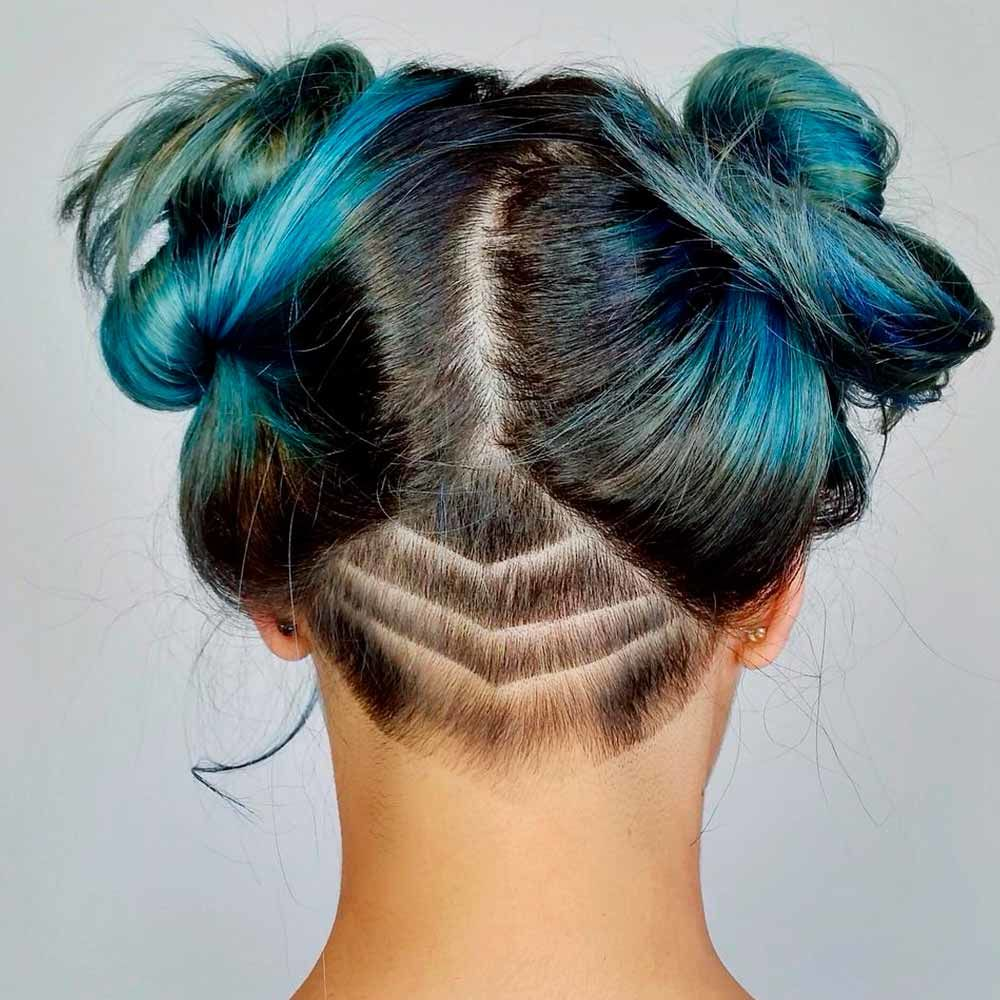 Nape Design To Amaze Your Friends, undercut female long hair, undercut fade women's long hair, fade undercut girl