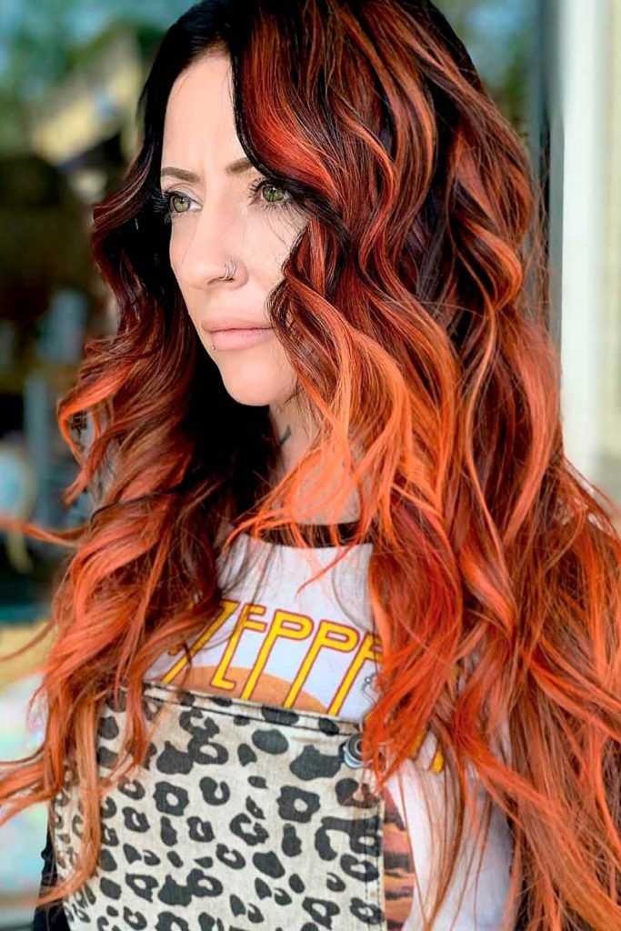 Fiery Red Copper Hair Color, copper red highlights, brown to copper ombre, copper red hair color