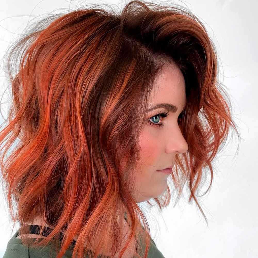 Bright Copper Ombre With Dark Roots, copper ombre hair, copper color hair, copper ombre
