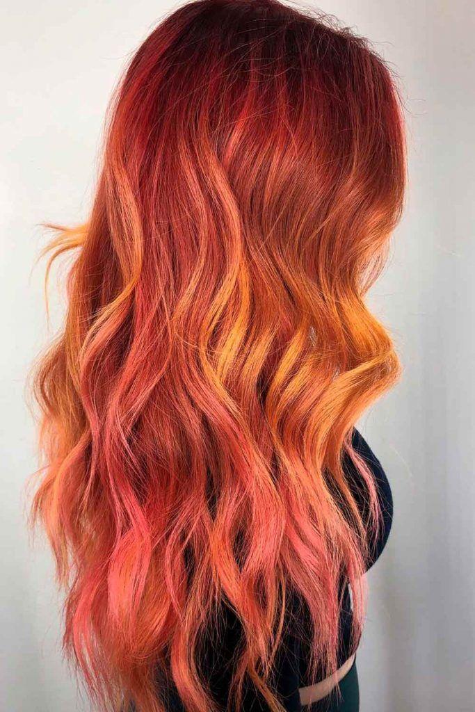 Fiery Copper Ombre, copper balayage on dark hair, copper orange hair, copper red hair color, hair color copper