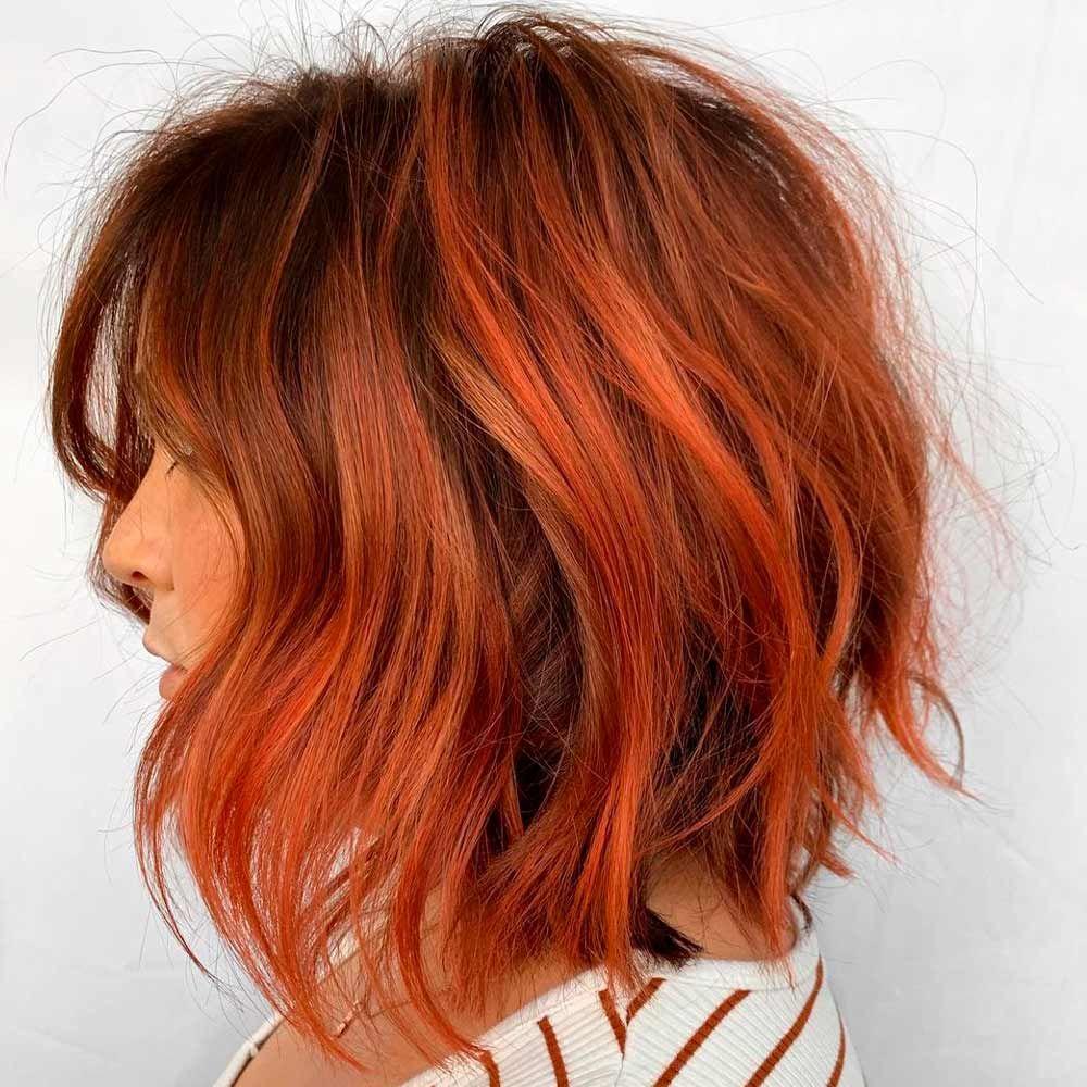 Copper Hair With Warm Orange Undertones, copper red hair, copper orange hair, copper red highlights