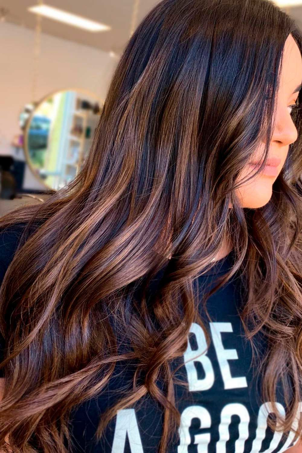 Dark Brown Hair With Honey Highlights Effect