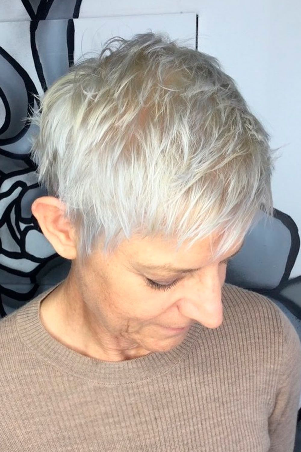 Layered Platinum Blonde Pixie, pixie haircuts for older women, pixie haircuts for fine thin hair over 50