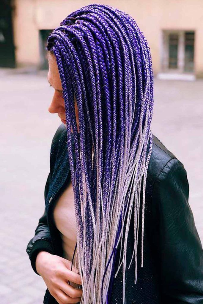 Long Twisted Braids With Purple Ombre