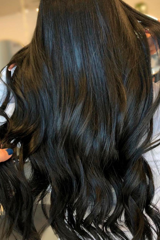Black Long Waves, heart shaped face hair, heart face shaped hairstyles, heart shaped face bangs