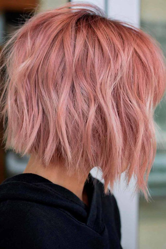 Middle-Parted Shaggy Rose Bob, short length layered shag haircuts, shag short haircuts, short curly shag haircuts