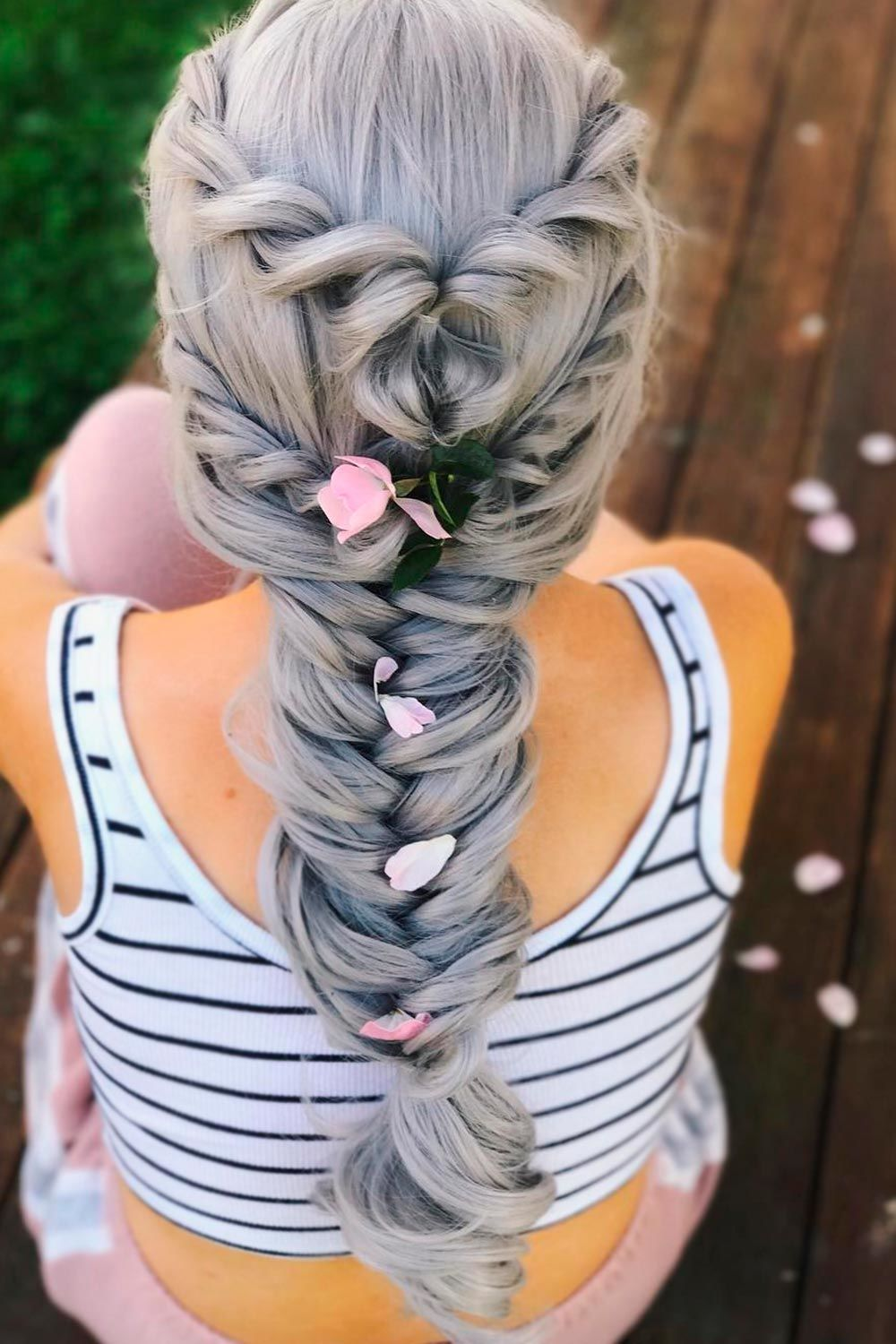 Fishtail Braidstyle, salt pepper hair, salt and pepper look, pepper coloring