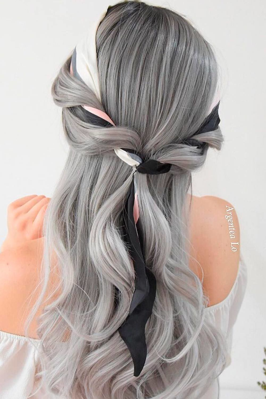Simple Half-Up, salt-and-pepper hair, peppered hair, pepper hair
