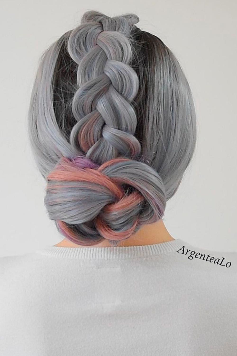 Knotted Updo Style, salt and peper hair, salt and pepper gray hair