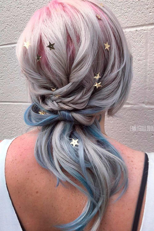 Low Ponytail with Stars, pepper hair, salt pepper hair