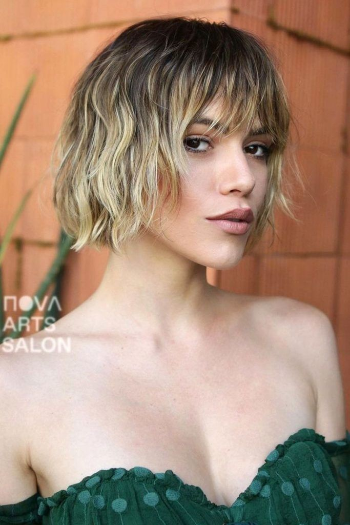 Blunt Wavy Bob With Thinned Bangs