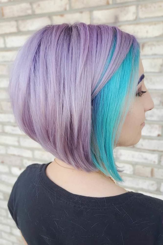 Edgy Lavender Short Hairstyle With Aqua Tones