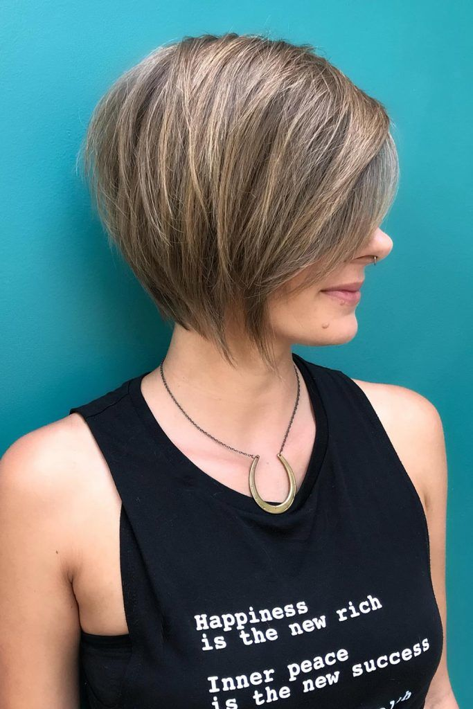 Layered And Side Parted Style For Short Hair