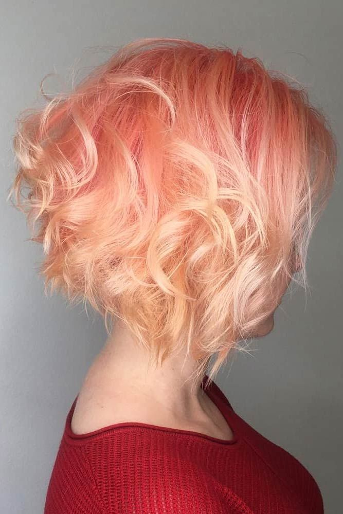Peach Wavy Stacked Style For Short Hair #shorthaircuts #shorthairstyles #shorthair