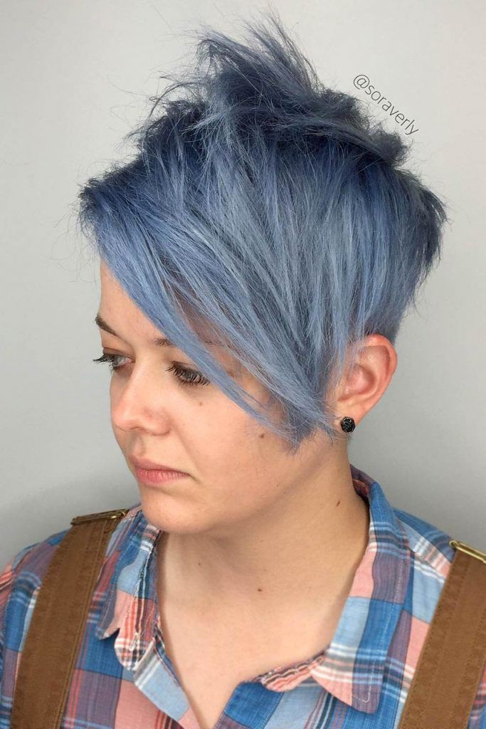 Blue Punky Pixie With Undercut