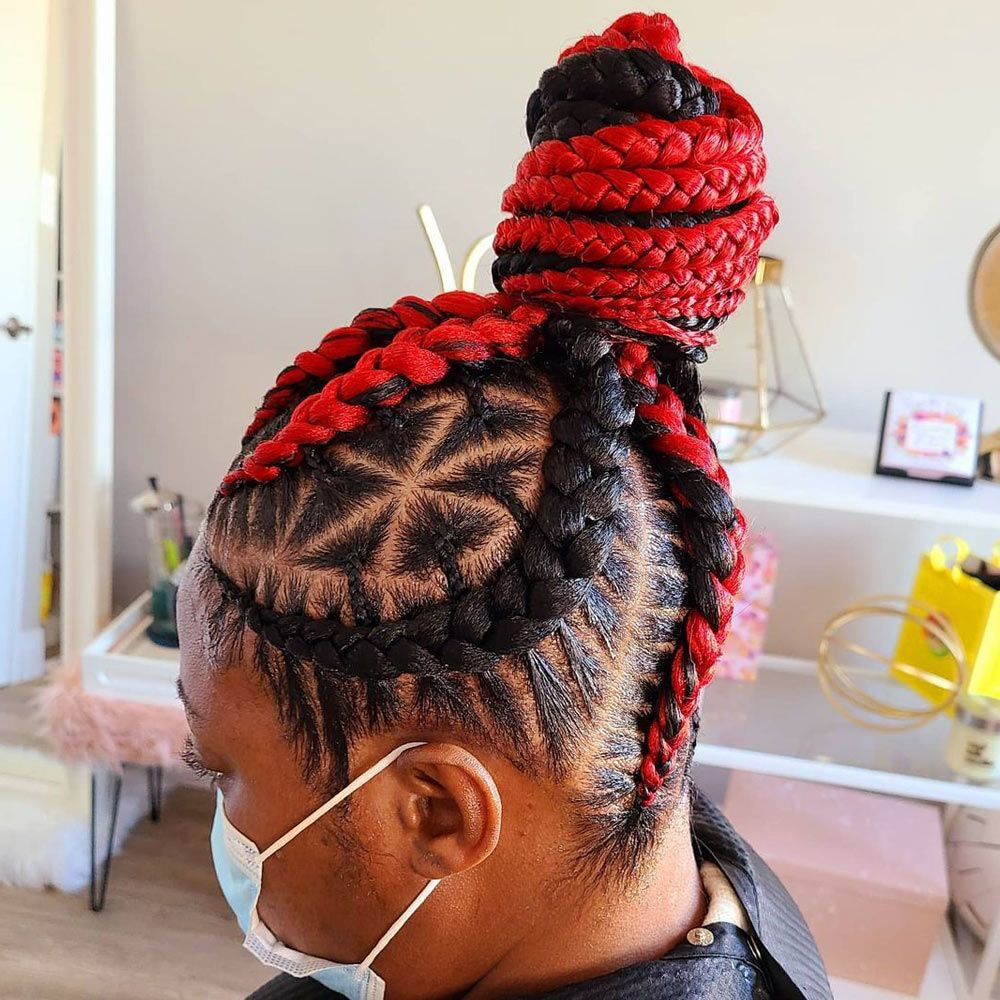 Conrows&Traingle Braids Updo Hairstyle