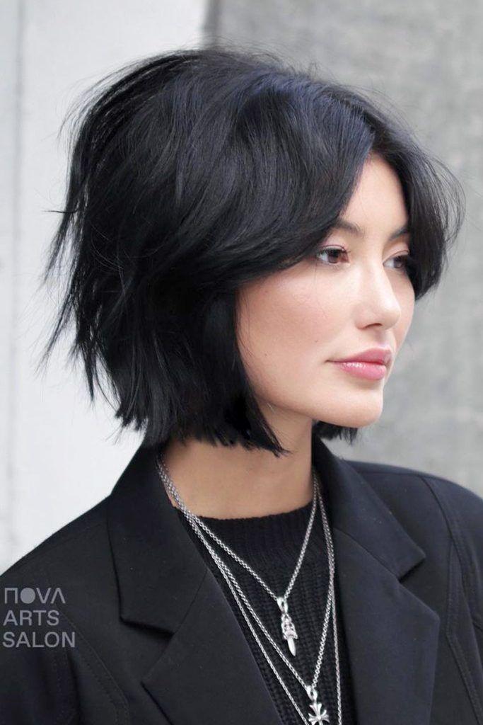 Short Haircut with Curtain Bangs