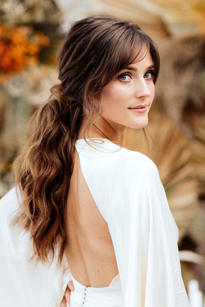 Ponytail Hair Style for Long Hair With Curtain Bangs