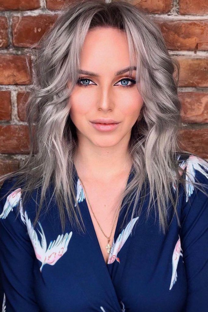 Silver Curly Hair With Curtain Bangs