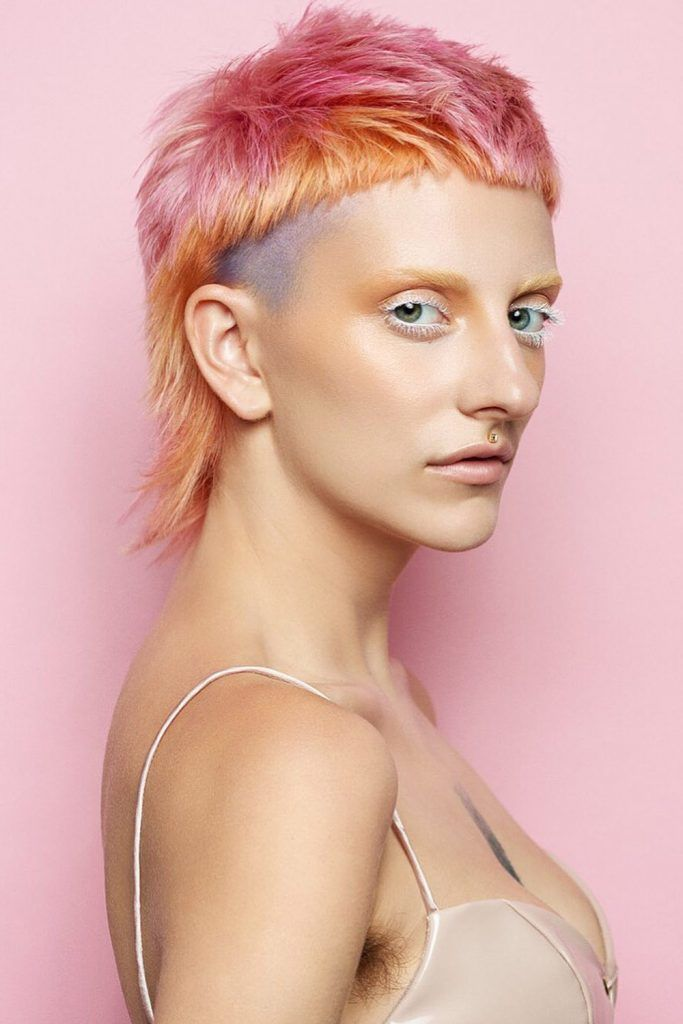 Pastel-Shaded Mullet With Shaved Sides