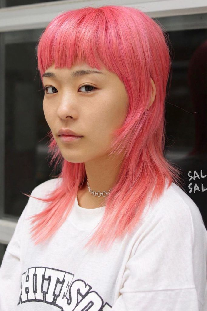 Pink Mullet With Thick Bangs