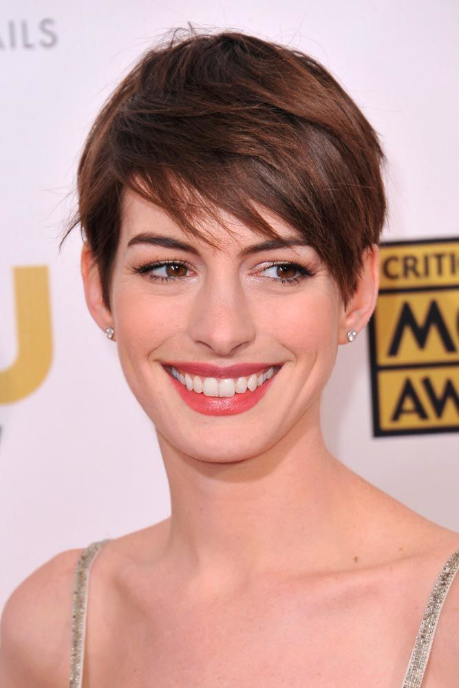 Anne Hathaway Long Pixie Cut With Side Swept Bangs