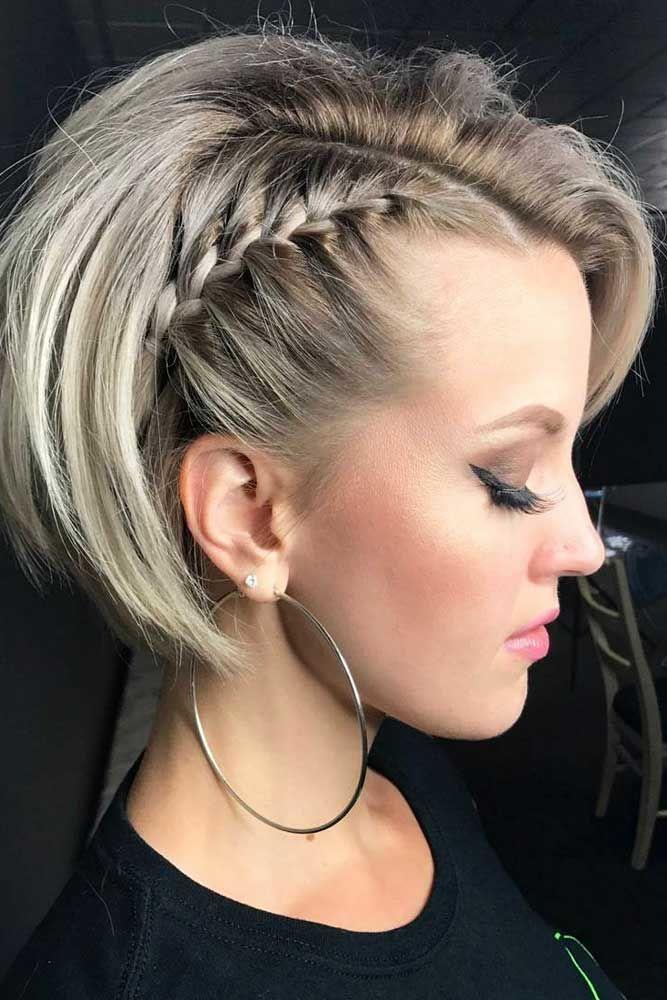 Side Flirty And Girly Braided Pixie Bob #pixiebob #haircuts #hairstyles #braids