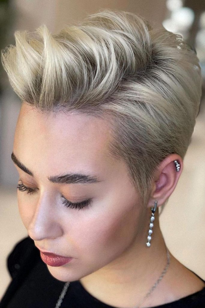 Pushed Up Pixie Cut For Oval Face