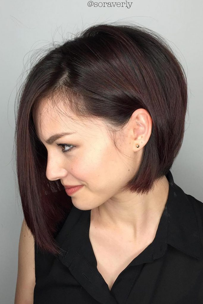 Bob Haircut With Bold Middle Section