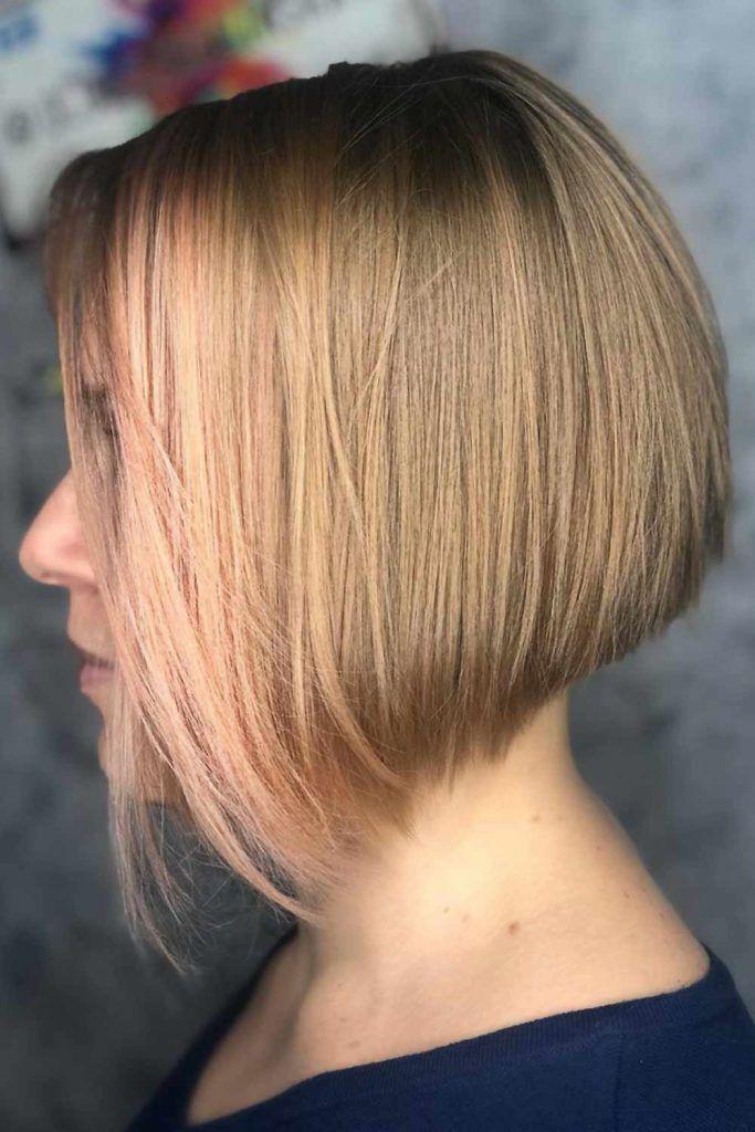 Short Straight Inverted Haircut Pastel Pink #invertedbob #bob