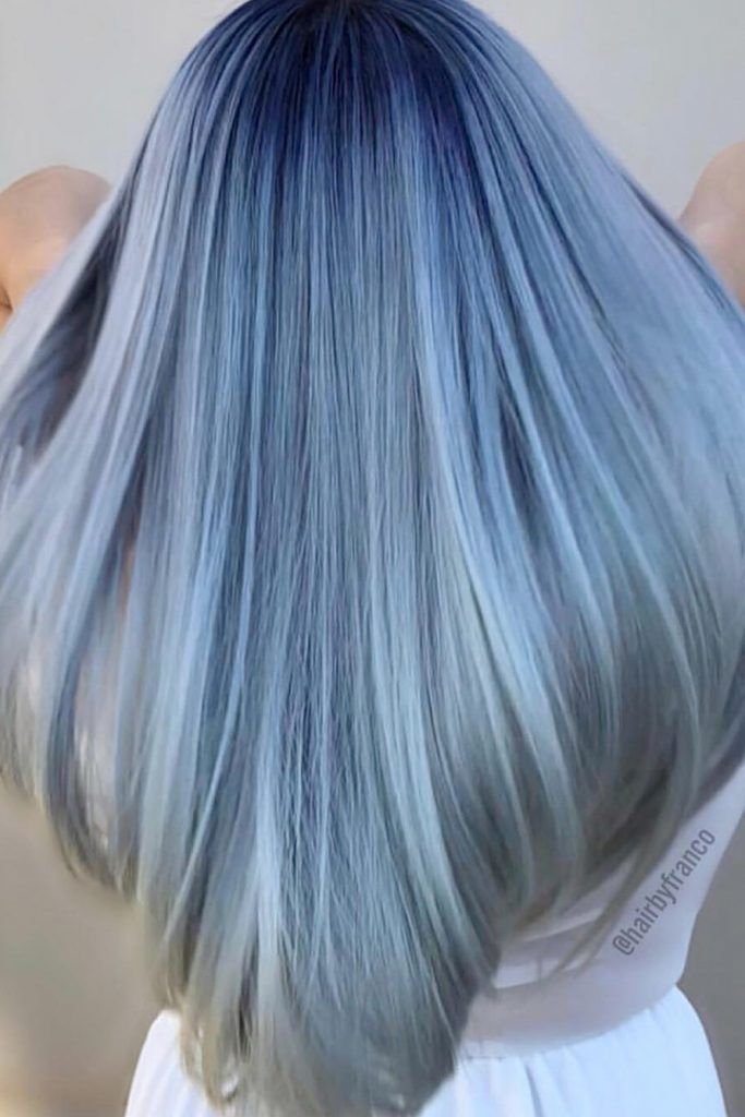 Dark Roots Periwinkle Ombre Hair