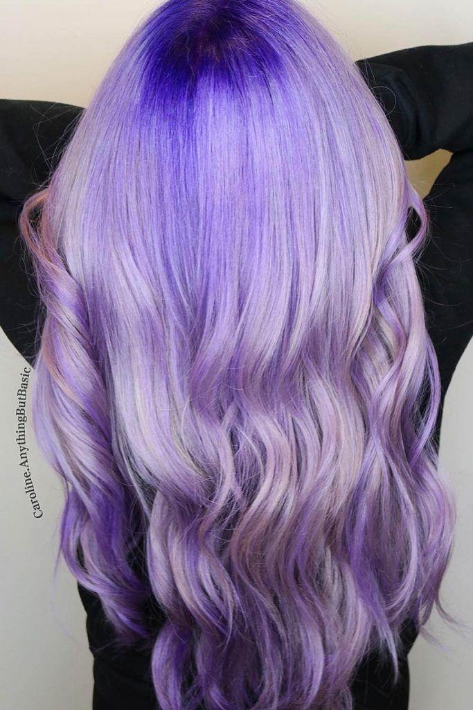 Dark Roots Periwinkle Purple Ombre Hair