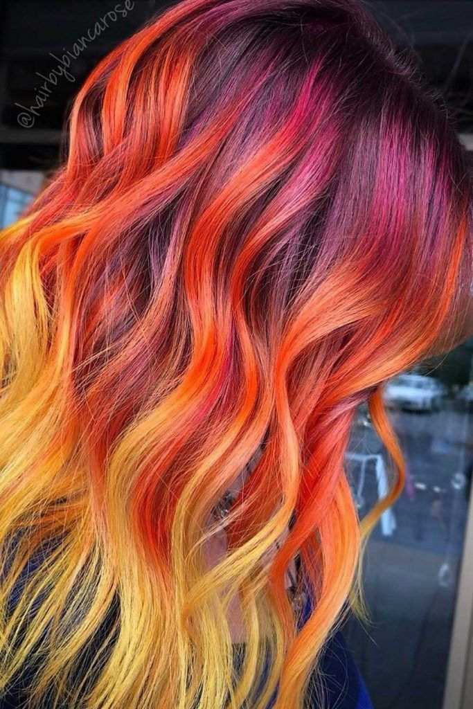 Bright Ombre Sunset Hair