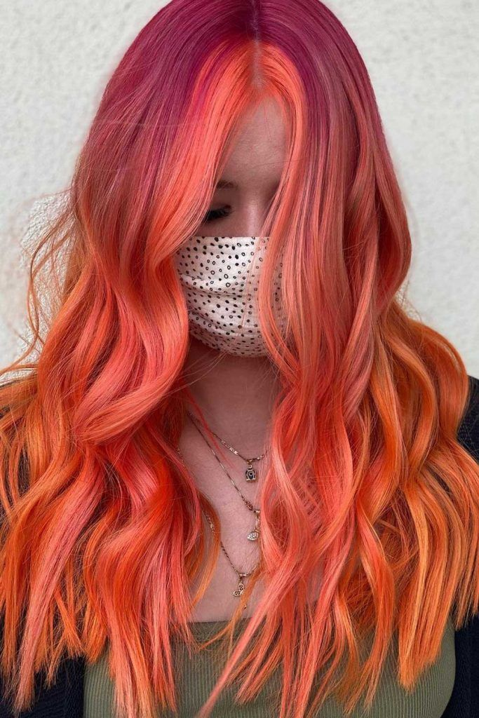 Bright Peachy Sunset Color Hair Trend