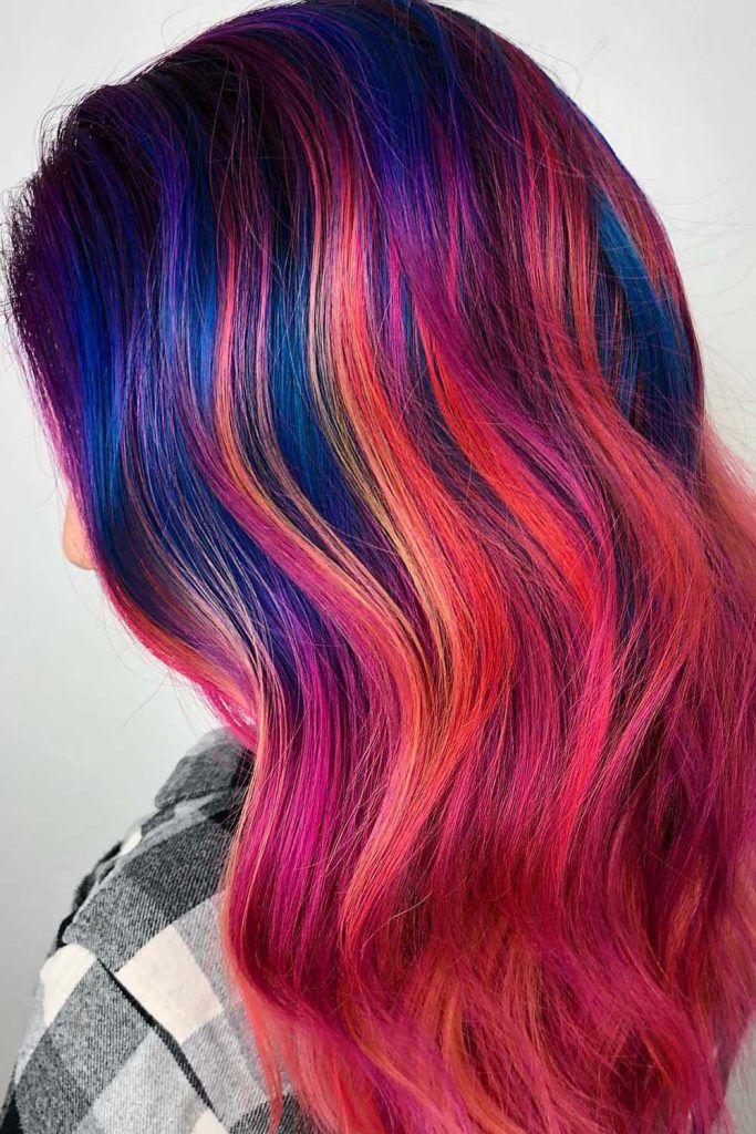 Dark Blue Sunset Ombre Hair