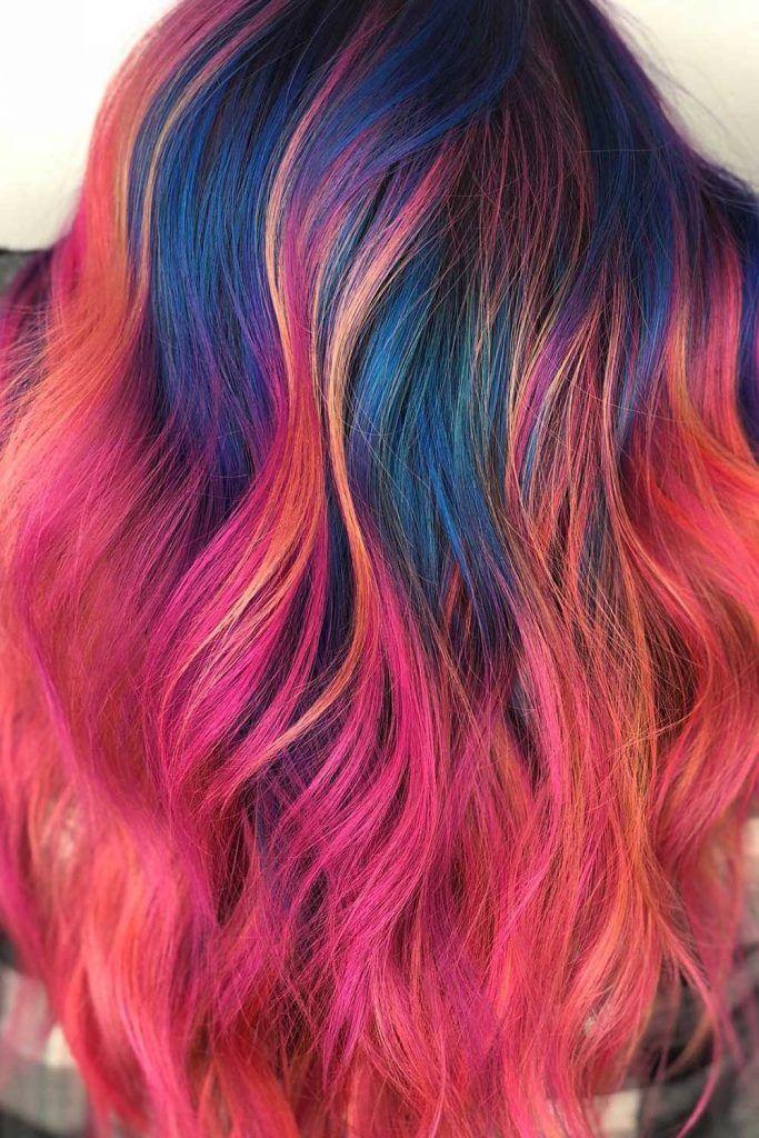 Sunset Deep Blue Roots Hair