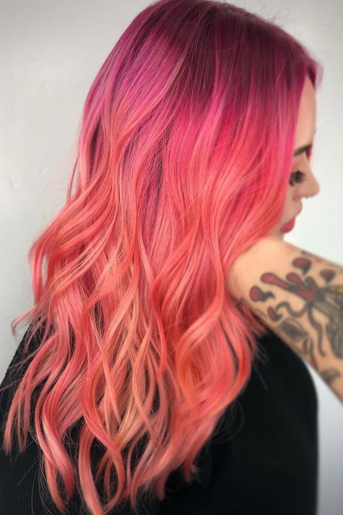 Peachy Sunset Color Hair Trend